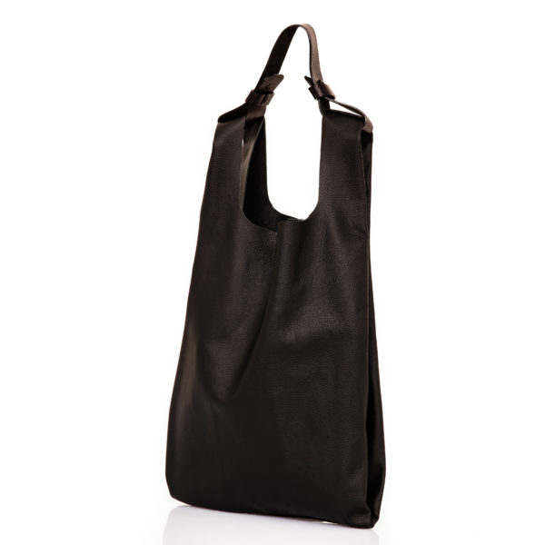 Shopping bag in pelle nera- cinzia rossi