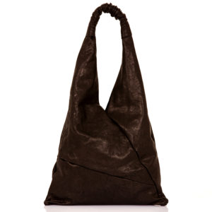 Shopping bag in pelle nera