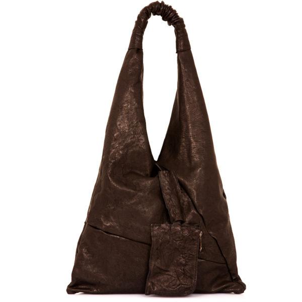 Shopping bag in pelle nera