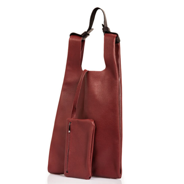 Shopping bag in pelle bordeaux - Cinzia Rossi