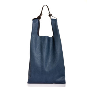 Shopping bag in pelle blu