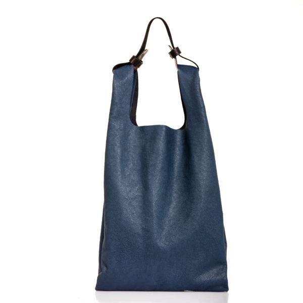 Shopping bag in pelle blu