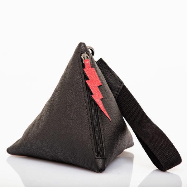 Pochette Pyramid en cuir noir - Cinzia Rossi