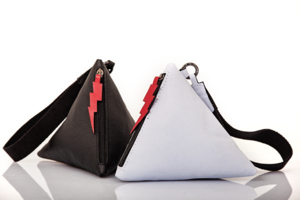 Pochette Pyramid en cuir aigue-marine - Cinzia Rossi