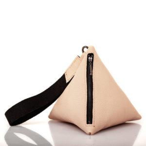 Pochette pyramid in pelle color sabbia - Cinzia Rossi