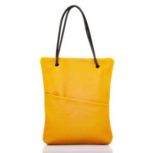 Einkaufstasche aus gelbem Ockerleder - Cinzia Rossi