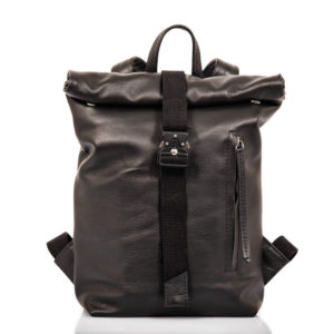 Small black leather roll top backpack - Cinzia Rossi