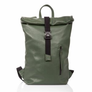 Green  leather roll-top backpack - Cinzia Rossi