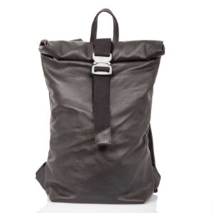 Black leather roll-top backpack with steel-colored buckle - Cinzia Rossi