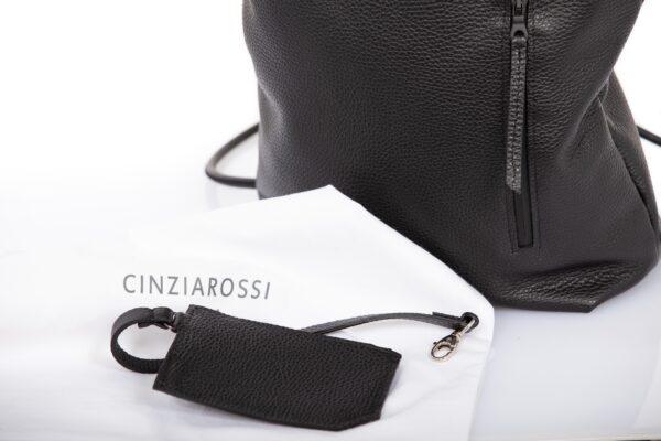 Mochila enrollable en piel negra - Cinzia Rossi