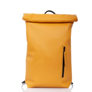 Yellow ocher leather roll-top backpack - Cinzia Rossi