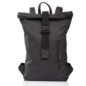 Black leather roll-top backpack - Cinzia Rossi