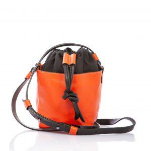 Borsa a secchiello in pelle arancione - Cinzia Rossi