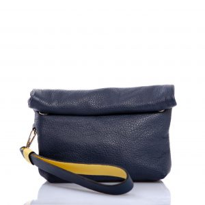Blue leather hand clutch - Cinzia Rossi