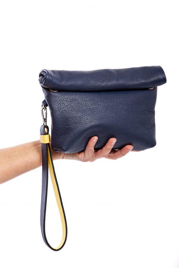 Clutch de mano en piel azul - Cinzia Rossi