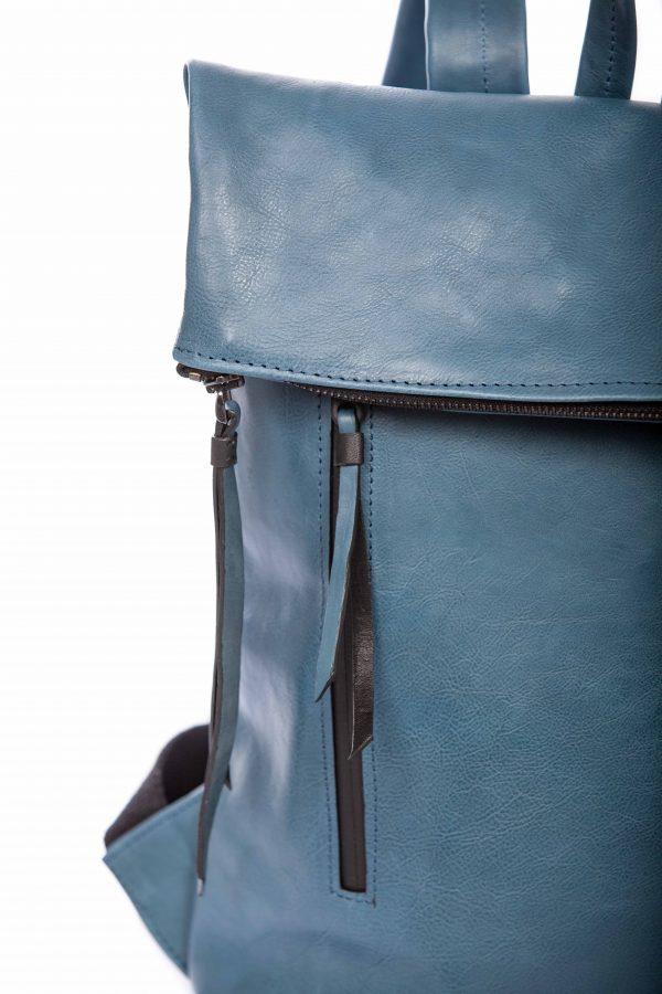 Mochila de cuero azul vaquero - Cinzia Rossi