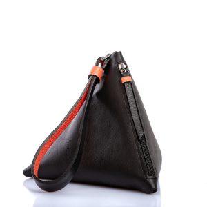 Clutch Pyramid en cuero negro - Cinzia Rossi