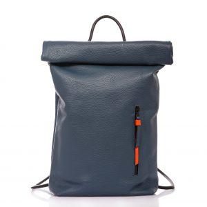 Denim blue leather roll-top backpack - Cinzia Rossi